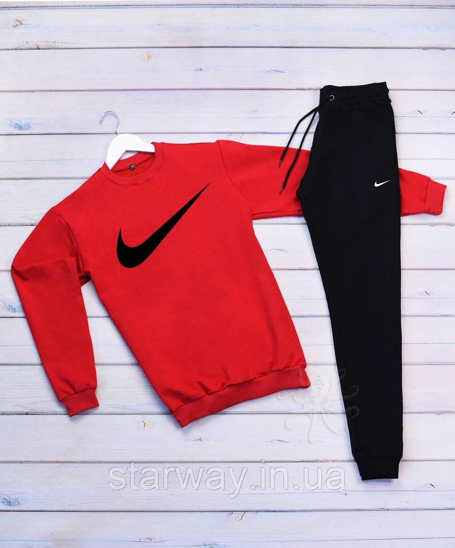 Cпортивный трикотажный костюм Nike галочка крупная   красный верх черный низ