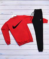 Cпортивный трикотажный костюм Nike галочка крупная   красный верх черный низ, фото 1