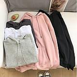 Толстовка женская утепленная оверсайз с капюшоном. Байка на флисе, худи, свитшот (розовая) XL, фото 3