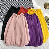 Толстовка женская утепленная оверсайз с капюшоном. Байка на флисе, худи, свитшот (розовая) XL, фото 4