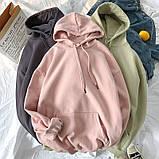Толстовка женская утепленная оверсайз с капюшоном. Байка на флисе, худи, свитшот (розовая) XL, фото 6