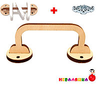 Заготовка для Бизиборда Деревянная Ручка 12 см + 3 Кольца и Шурупы с Кольцами из Фанеры для Бізіборда, фото 1