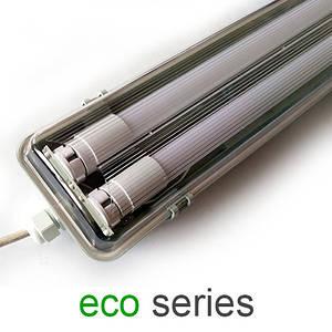 Комплект светильник + 2 LED лампы Т8 1200 мм пыле- влагозащищенный IP65 серия ECO (упаковка 15 шт)