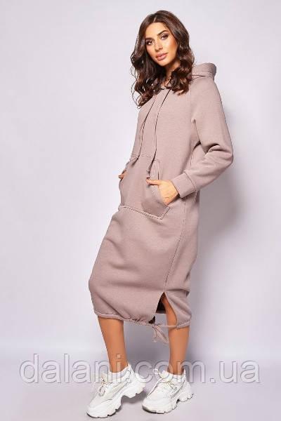 Женское спортивное розовое платье-худи миди с капюшоном