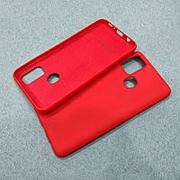 Силиконовый матовый чехол с микрофиброй для Samsung Galaxy M30s красный тонкий