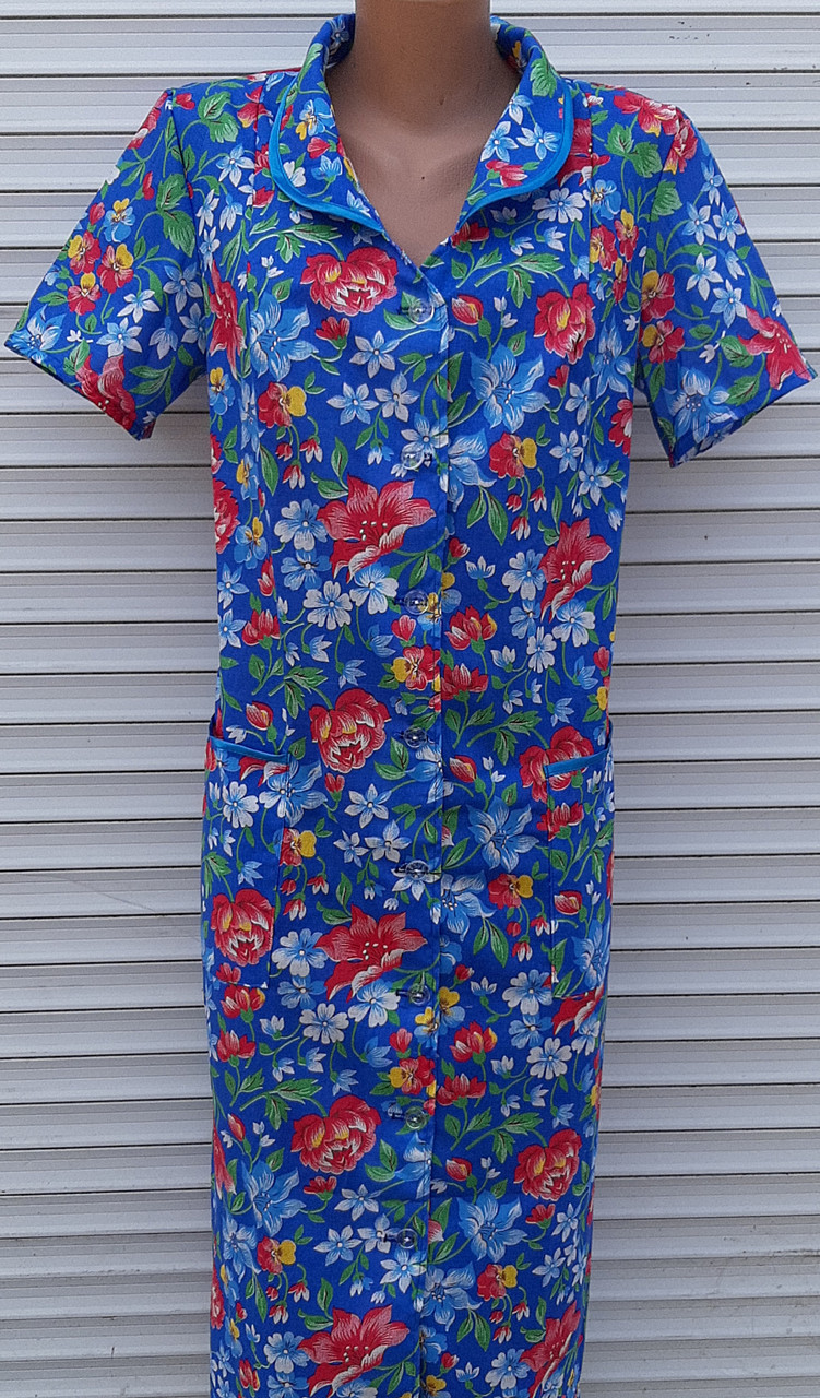 Летний халат с коротким рукавом 46 размер Анютки на синем