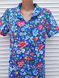 Летний халат с коротким рукавом 46 размер Анютки на синем, фото 3