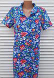 Летний халат с коротким рукавом 46 размер Анютки на синем, фото 6