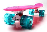 Скейт Penny Board, с широкими светящимися колесами Пенни борд, пенниборд детский , от 4 лет, Малиновый