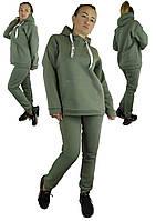 Женский теплый костюм с капюшоном оливкового цвета XL, XXL, 3XL