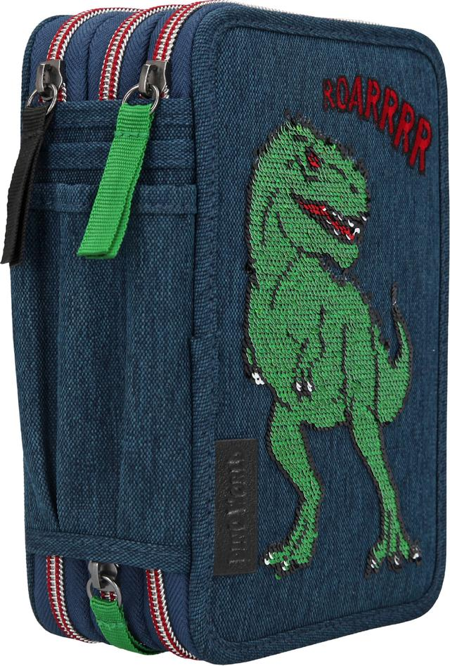 DINO WORLD pencil case with filling with sequins 11071