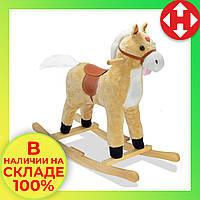 """Музыкальная лошадка качалка детская """"Поющий конь"""", Плюшевый, Светло-коричневый (высота - 62 см), фото 1"""