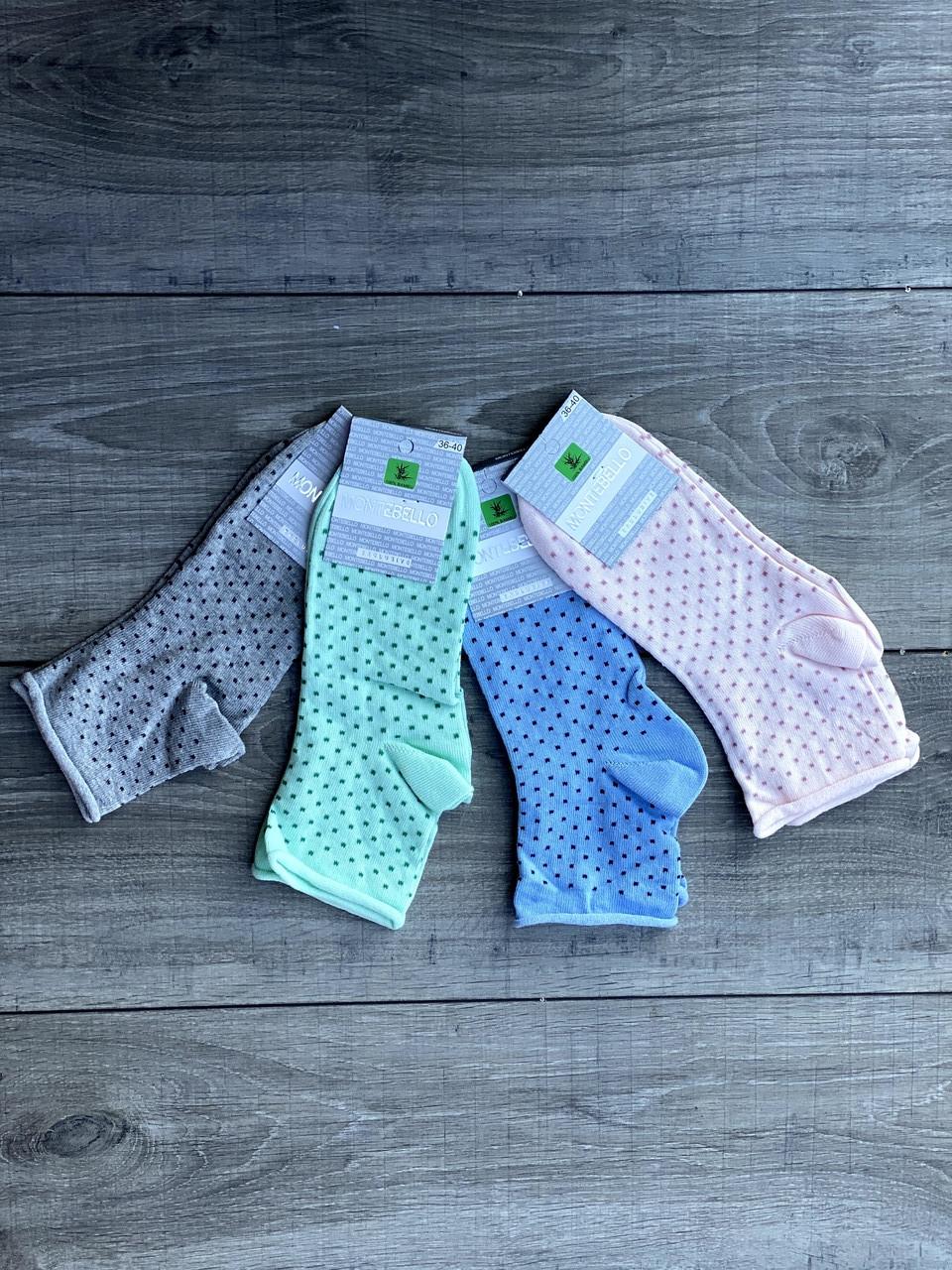 Жіночі носки в горошок шкарпетки Montebello без резинки 35-40 12 шт в уп мікс із 4х кольорів