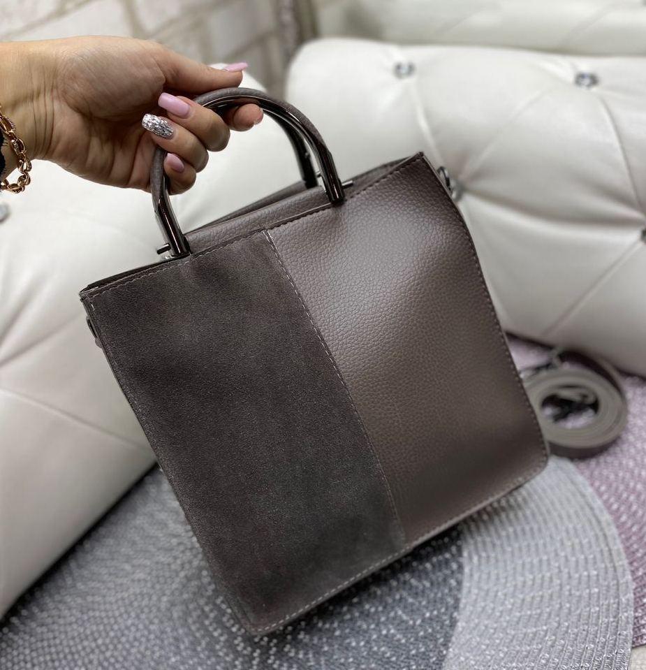 Сумка женская средняя небольшая коричневая прямоугольной формы сумочка молодежная модная замша+кожзам