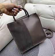 Сумка женская средняя небольшая коричневая прямоугольной формы сумочка молодежная модная замша+кожзам, фото 1