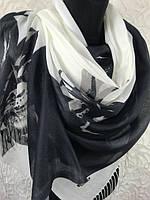 """Турецкий черно-белый палантин 180х70 см """"Льняная Лилия"""""""