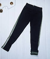 Лосины для девочки подростка утеплённые черные Размер 146 158