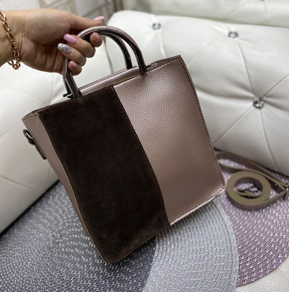 Сумка женская средняя небольшая прямоугольной формы сумочка повседневная стильная бронзовая замша+кожзам