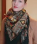 Миндаль 1369-10, павлопосадский платок (шаль) из уплотненной шерсти с шелковой вязанной бахромой, фото 3
