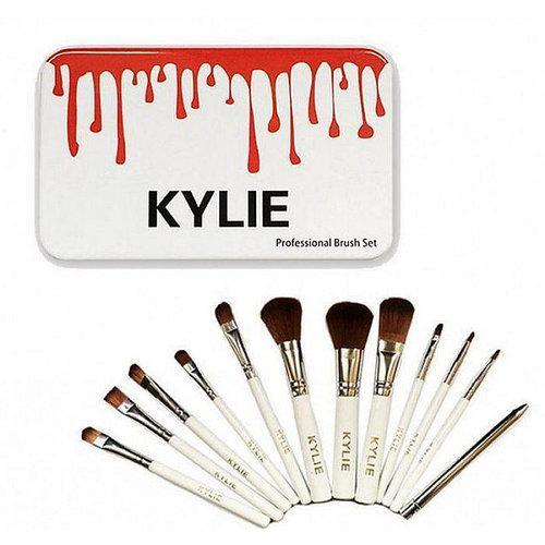Набор кисточек для макияжа в стиле Kylie Professional Brush Set большие белые 12 штук