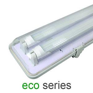 Комплект светильник + 2 LED лампы Т8 1200 мм пыле- влагозащищенный с пластиной IP65 серия ECO