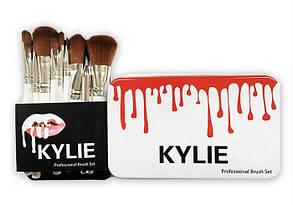 Набор кисточек для макияжа в стиле Kylie Professional Brush Set большие белые 12 штук, фото 3