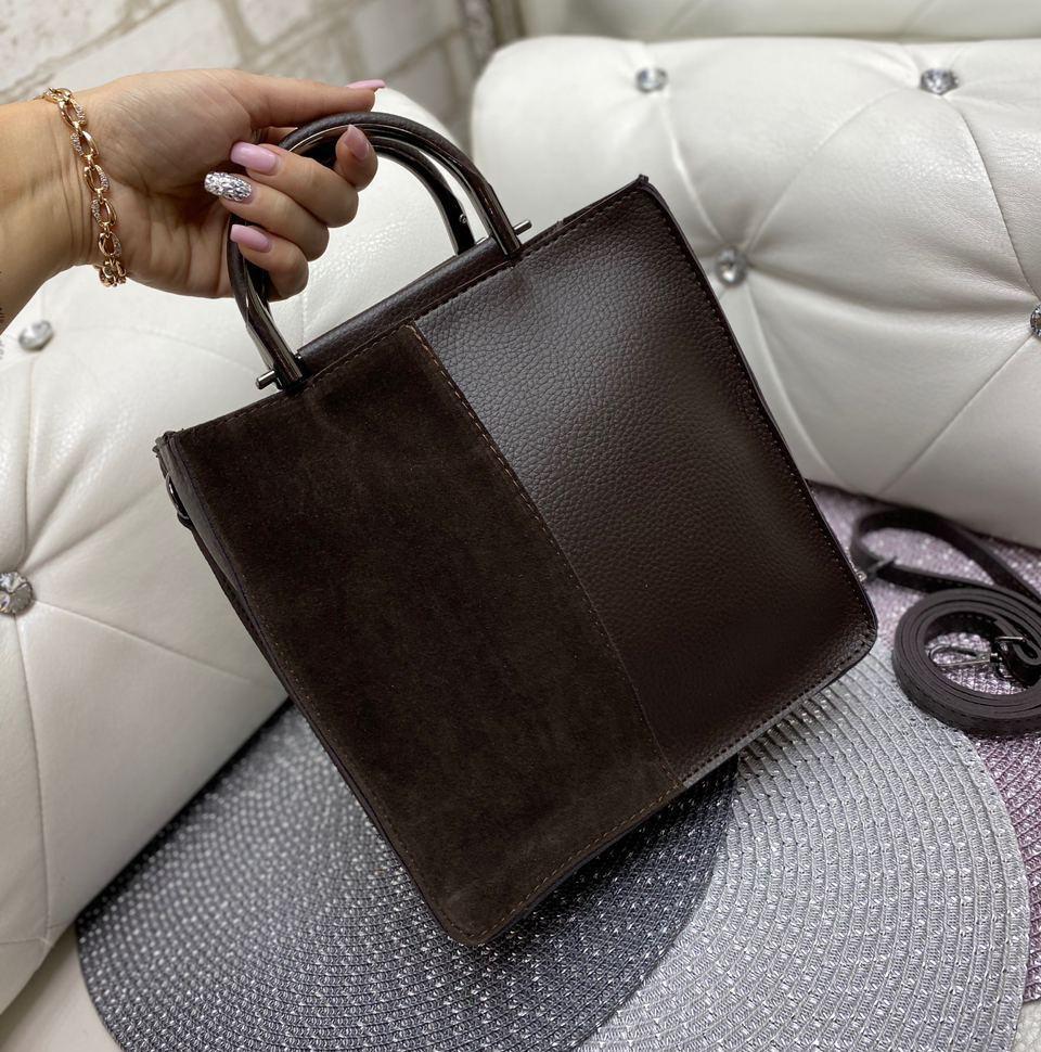 Сумка женская средняя небольшая прямоугольной формы сумочка повседневная стильная шоколадная замша+кожзам