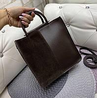 Сумка женская средняя небольшая прямоугольной формы сумочка повседневная стильная шоколадная замша+кожзам, фото 1