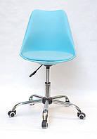 Кресло голубое на колесиках, поворотное из цельнолитого пластика Milan Office