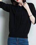 Худі світшот жіночий в'язаний з капюшоном. Светр реглан джемпер трикотажний (чорний) L, фото 2