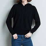 Худі світшот жіночий в'язаний з капюшоном. Светр реглан джемпер трикотажний (чорний) L, фото 3