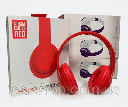 Беспроводные наушники Bluetooth с микрофоном TM-047 Bluetooth,MP3,FM,CD card Red