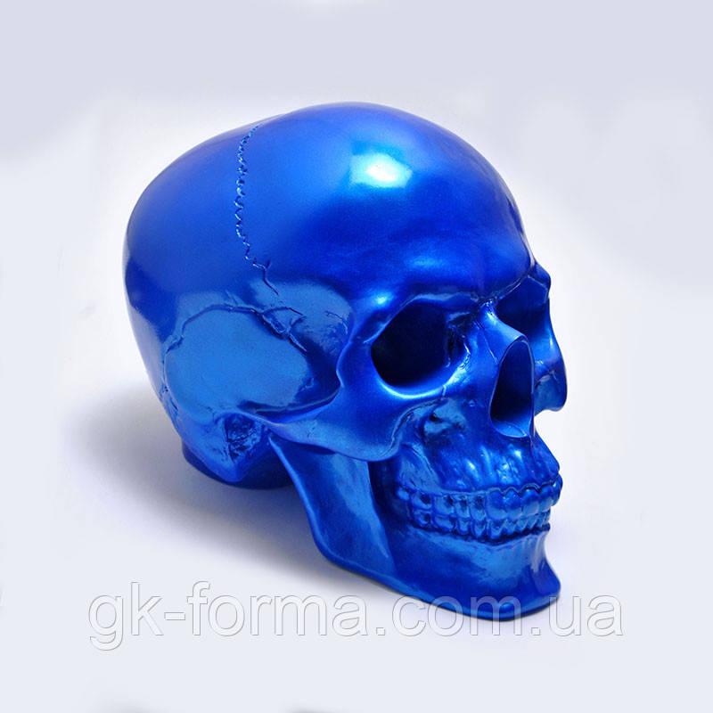 Череп декоративный синий в натуральную величину из гипса