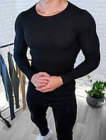 Мужской свитер Черный приталенный / Турция