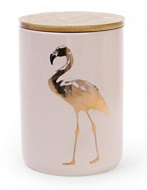 Банка фарфоровая Фламинго 1225 мл с бамбуковой крышкой розовая (psg_BD-945-125) + подарок