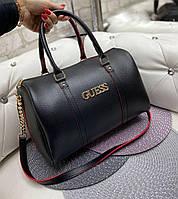 Женская сумка бочонок брендовая модная стильная вместительная черная саквояж кожзам, фото 1