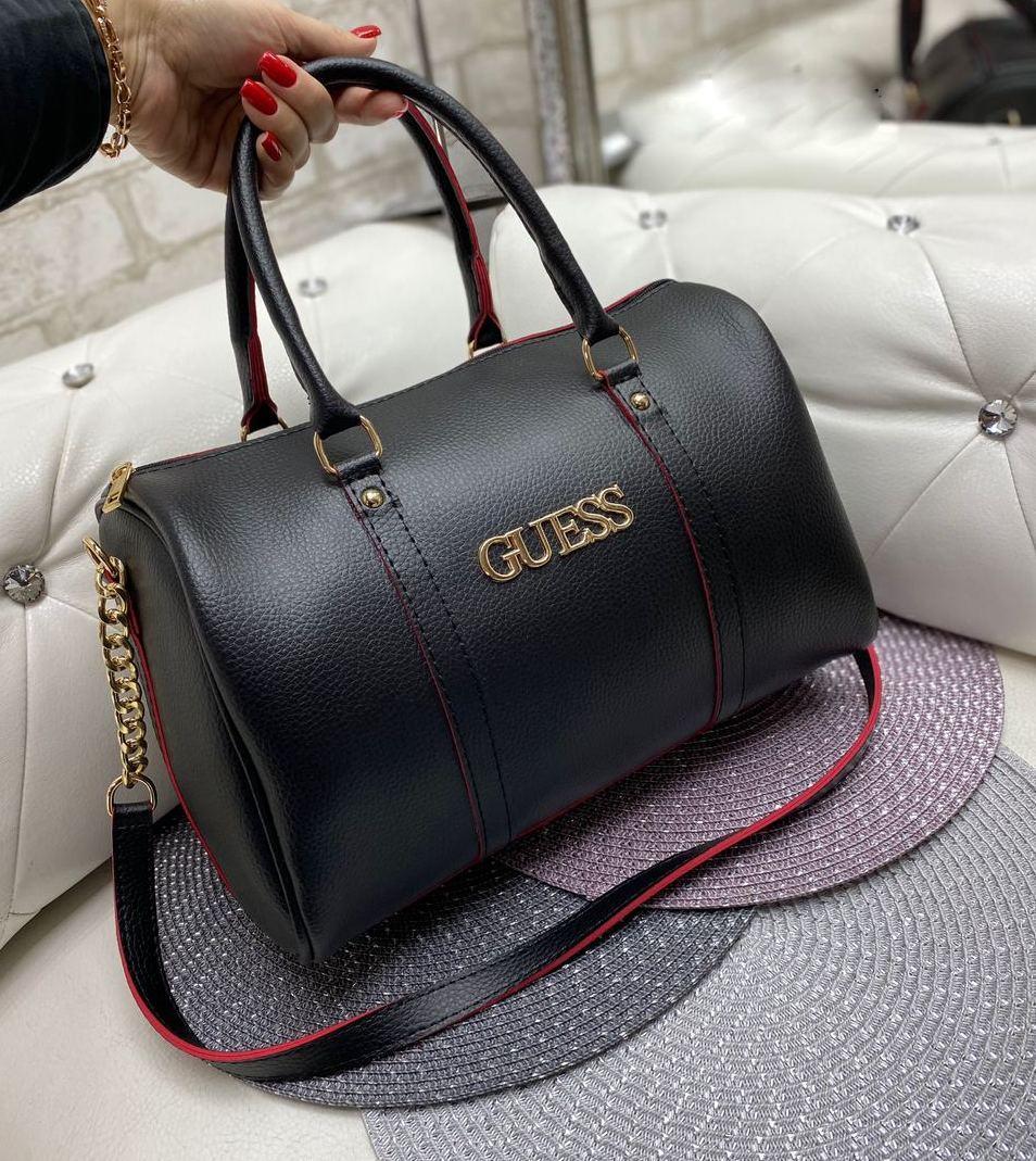Женская сумка бочонок брендовая модная стильная вместительная черная саквояж кожзам