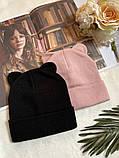 Жіноча акрилова однотонна шапка з вушками в кольорах, фото 4