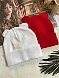Жіноча акрилова однотонна шапка з вушками в кольорах, фото 3