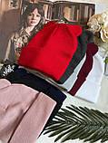 Жіноча акрилова однотонна шапка з вушками в кольорах, фото 5
