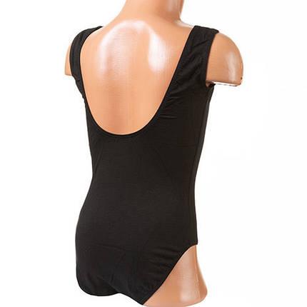 Купальник гимнастический без рукавов, черный, хлопок, рост 130см, фото 2