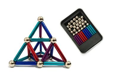 Магнітний неодимовий конструктор кольоровий (бакибарс) 63-деталей