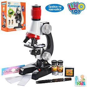 Микроскоп 21 см, свет, пробирки, стекла, на бат-ке, в кор-ке, 19-24-8,5см