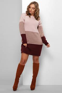 Модное вязаное платье пудра 42-48