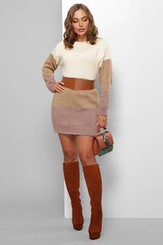 Модное вязаное платье топленое молоко 42-48
