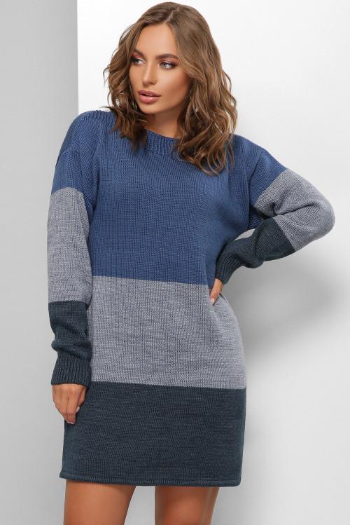 Модное вязаное платье синее 42-48