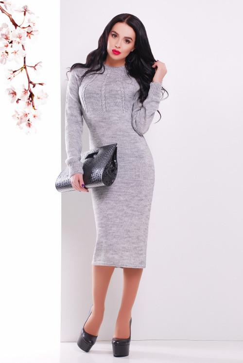 Женское вязаное платье темно-серое 44-48