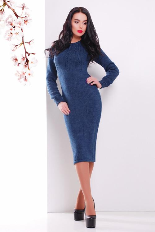 Женское вязаное платье джинс 44-48
