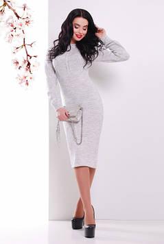 Женское вязаное платье светло-серый 44-48