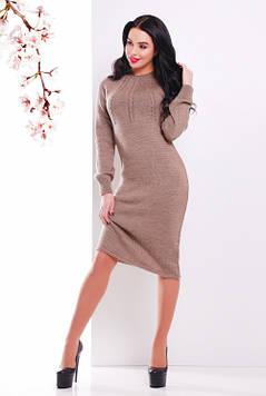 Женское вязаное платье кофе 44-48